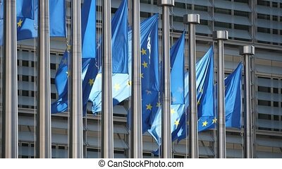 Festive EU flags fluttering at European Commission on a...