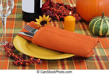 Festive Evening Table Setting for Autumn