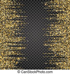 Festive explosion of confetti. Gold glitter background for the card, invitation. Holiday Decorative element. Illustration falling shiny particles and stars isolated on checkered