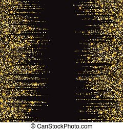 Festive explosion of confetti. Gold glitter background for the card, invitation. Holiday Decorative element. Illustration of falling shiny particles and stars isolated on dark background