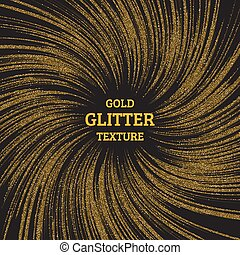 Festive explosion of confetti. Gold glitter background for the card, invitation. Holiday Decorative element. Falling shiny particles and stars isolated on dark background.