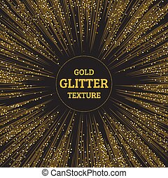 Festive explosion of confetti. Gold glitter background for the card, invitation. Holiday Decorative element. Illustration of falling shiny particles and stars