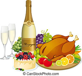 festive feast with champagne, poultry, swetts, fruit and ...
