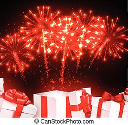 Festive firework background with gifts. - Festive red...