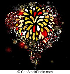 Festive Firework Black Background Poster - Festive...