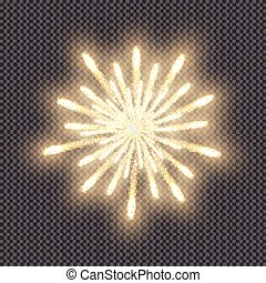 Festive firework, bursting salute of gold color, isolated on transparent background. Vector illustration. EPS10.