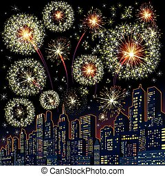 Festive Firework Skyline. Vector Image