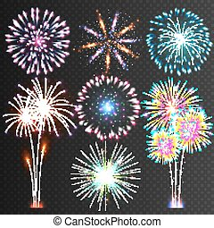 Festive Firework. Vector Isolated Pictograms. Dazzling Light up the sky. Icons on a black Background