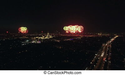 Festive fireworks in night Moscow on Victory Day