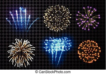 Festive fireworks set. - Festive fireworks set isolated on ...