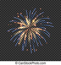 Festive fireworks with golden and blue sparks