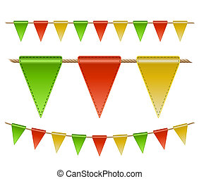 Festive flags on white background