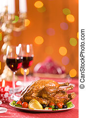 Festive food - Image of roasted turkey with vegs and red...