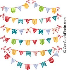 Festive garlands isolated on white background. Carnival party flags garland set vector illustration