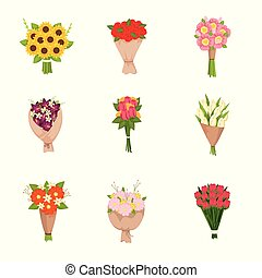 Festive gift bouquets of flowers icons set on empty background