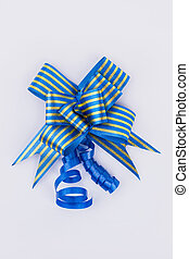 Festive gift bow of blue color.