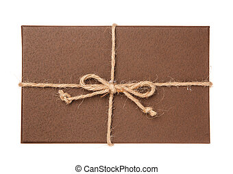 Festive gift box on white background. Top view.