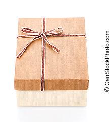 Festive gift box with ribbon on white background.