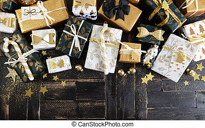Festive gift wrapped presents for a merry Christmas