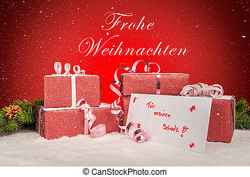 Festive gifts with snow and a greeting card for my sweetheart in german