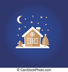Festive gingerbread. House, man, stars.