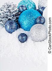 festive glitter christmas decoration silver blue