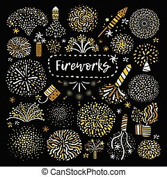 Festive Golden Firework Icons Set - Golden yellow festive...