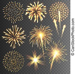 Festive Golden Firework Salute Burst on Transparent...