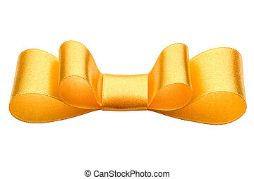 Festive golden gift bow isolated on white background cutout