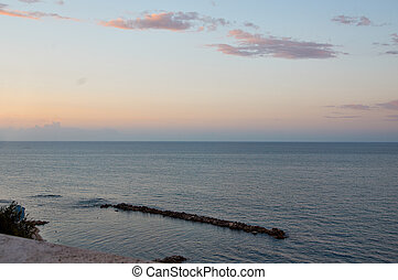 Festive Golden sunset over the Adriatic sea