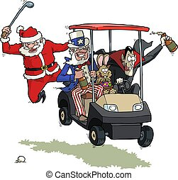 Festive golf party