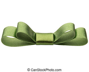 Festive green gift bow isolated on white background cutout