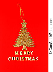Festive greeting card. Merry christmas lettering on red background with golden glittering christmas tree.