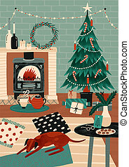 Festive greeting card or postcard template with cozy room decorated for holidays, Christmas tree, fireplace and dog sleeping on carpet. Colorful vector illustration in modern flat cartoon style.