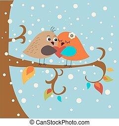 Festive greeting card with cute love birds