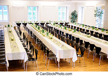 Festive Hall with Decorated Tables