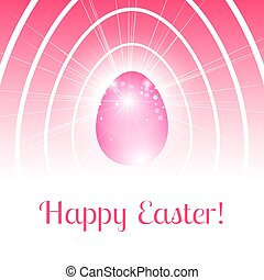 Festive Happy Easter card with stylized pink egg in light rays and bokeh particles