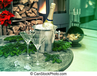 festive home decoration with champagne and fireplace