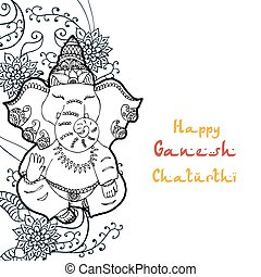 Festive illustration of the birthday of the Indian God Ganesha