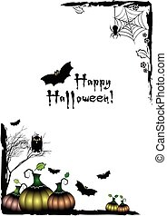 Festive illustration on theme of Halloween. Black corner frames