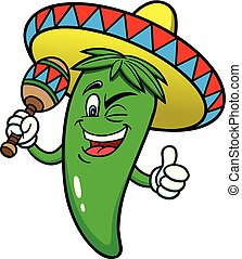 A cartoon illustration of a Mexican Jalapeno Pepper wearing a Sombrero and playing a Maraca.