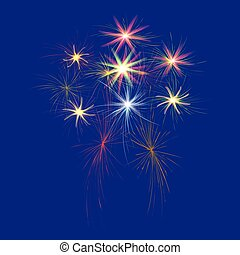Festive, large, multi-colored fireworks on a blue background illustration.
