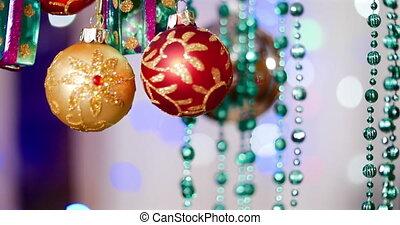 festive., lights., decoration., arbre, décoration, arcs, astérisques, année, nouveau, balle, noël