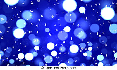 Festive Magical Abstract Blue Bokeh Background with Snowflakes
