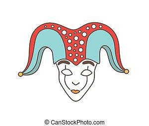 Festive mask of jester, harlequin, trickster, buffoon or ...