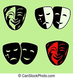 festive masks silhouette in black on a color background