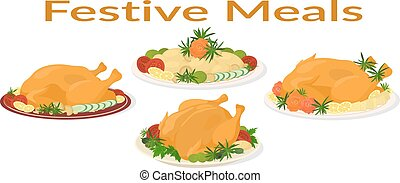 Festive Meals Set - Set of Delicious Festive Food on Plates,...