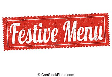 Festive menu grunge rubber stamp