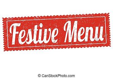 Festive menu grunge rubber stamp