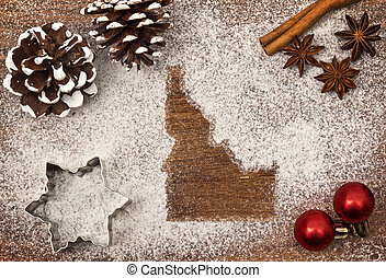 Festive motif of flour in the shape of Idaho (series)